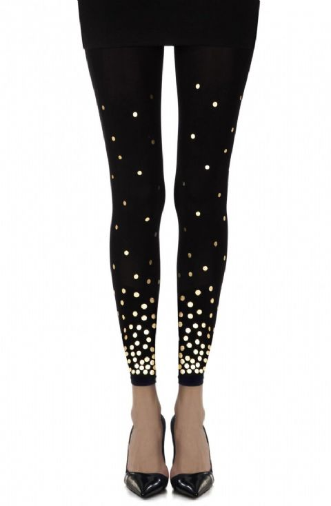 "Zohara - ""You've got a Point"" Black Print Footless Tights"